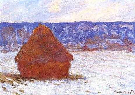 Стог сена в пасмурную погоду, эффект снега  ::  Клод Моне - Моне Клод (Claude Monet) фото