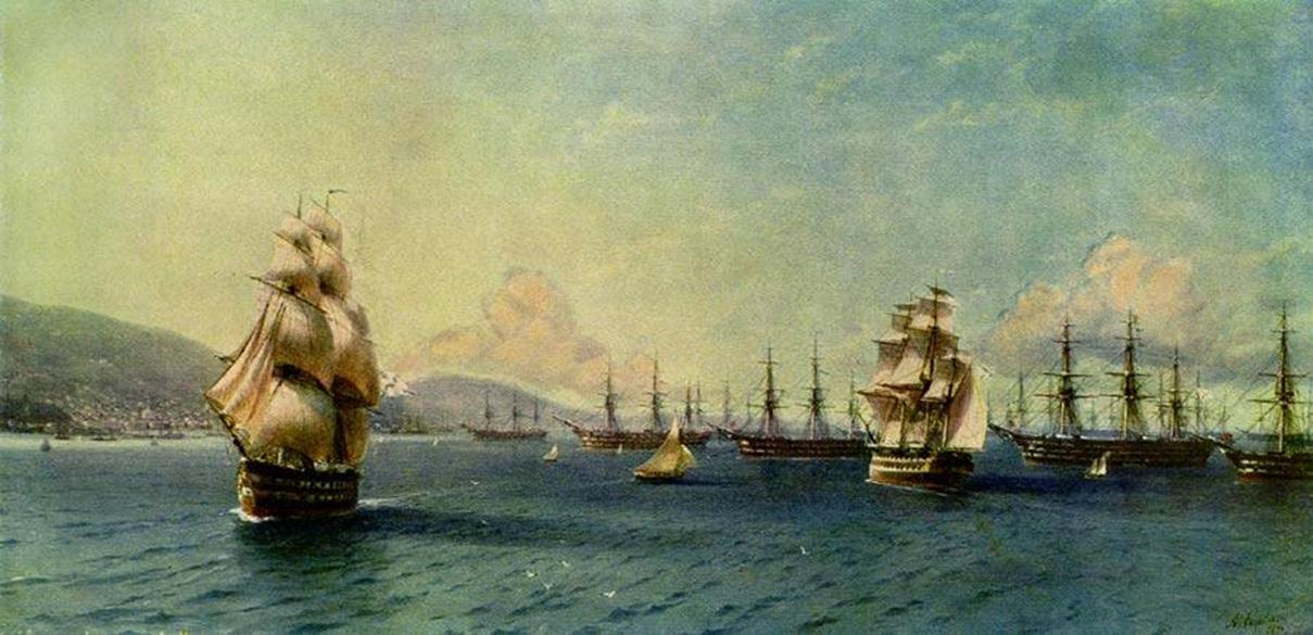 Черноморский флот в Феодосии :: Айвазовский И.К., описание картины - Aivazovsky, Ivan Constantinovich фото
