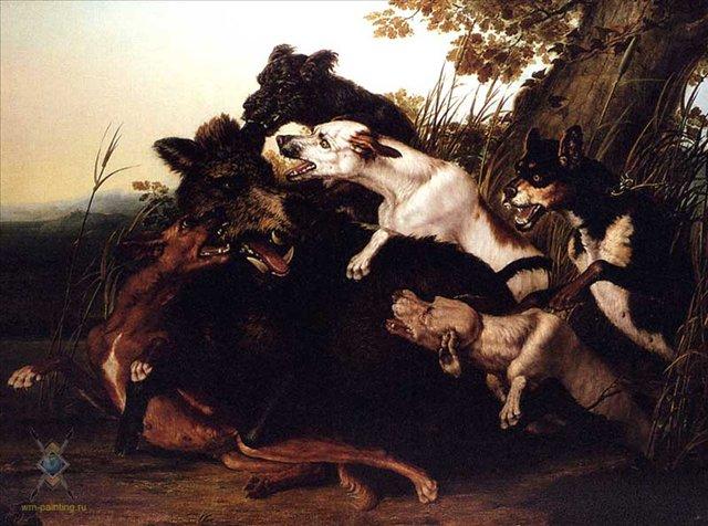 Охота на кабана :: П. Валлати - Жанровые сцены фото