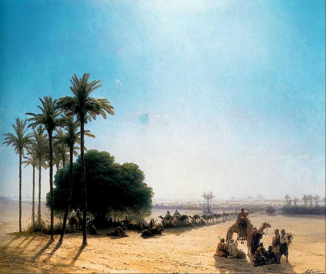 Караван в оазисе. Египет :: Айвазовский И.К. ( Ivan Constantinovich Aivazovsky ) [ Caravan in an oasis ] - Арабский восток фото