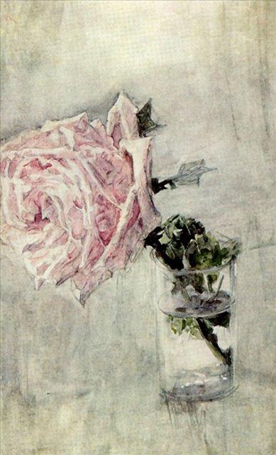 картина Роза в стеклянном стакане :: Врубель М.А., описание - Vrubel Michail фото