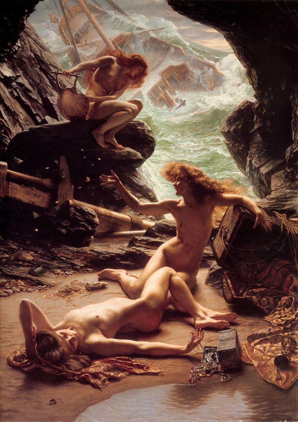 Пещера нимф шторма :: Поинтер Эдвард Джон ( Англия ), картина ню, эротика в живописи  - Картины ню, эротика в шедеврах живописи фото