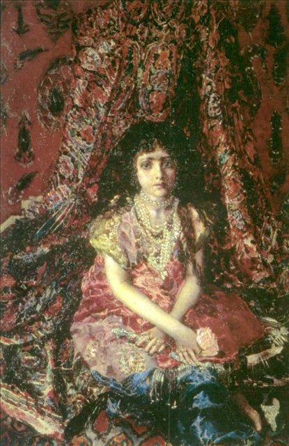 Девочка на фоне персидского ковра :: Врубель М.А. - Врубель Михаил Александрович ( Vrubel Michail ) фото