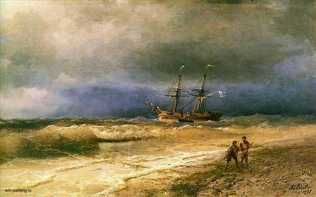 Прибой :: Айвазовский И. К. - Море в живописи ( морские пейзажи, seascapes ) фото
