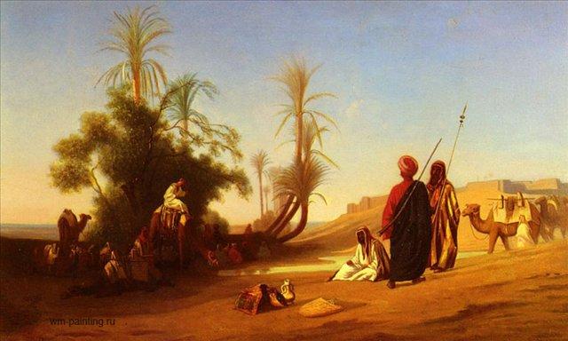 Оазис, остановка каравана :: Чарльз Теодор Фрей ( Франция ) [ Rest at the Oasis :: Charles Theodore Frere ] - Арабский восток фото