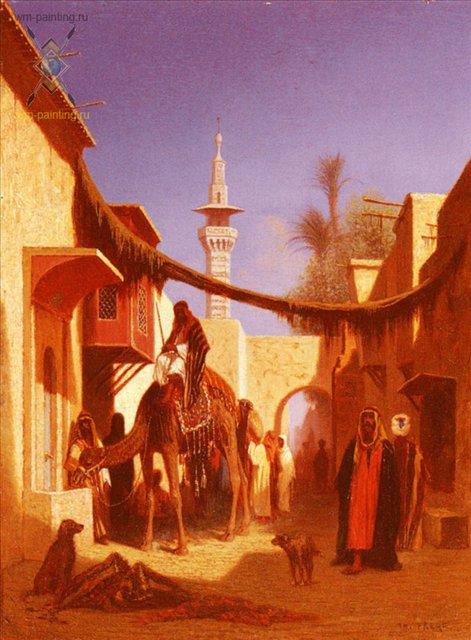 картина Улица в Каире :: Чарльз Теодор Фрей, плюс стать про Каир - Арабский восток фото