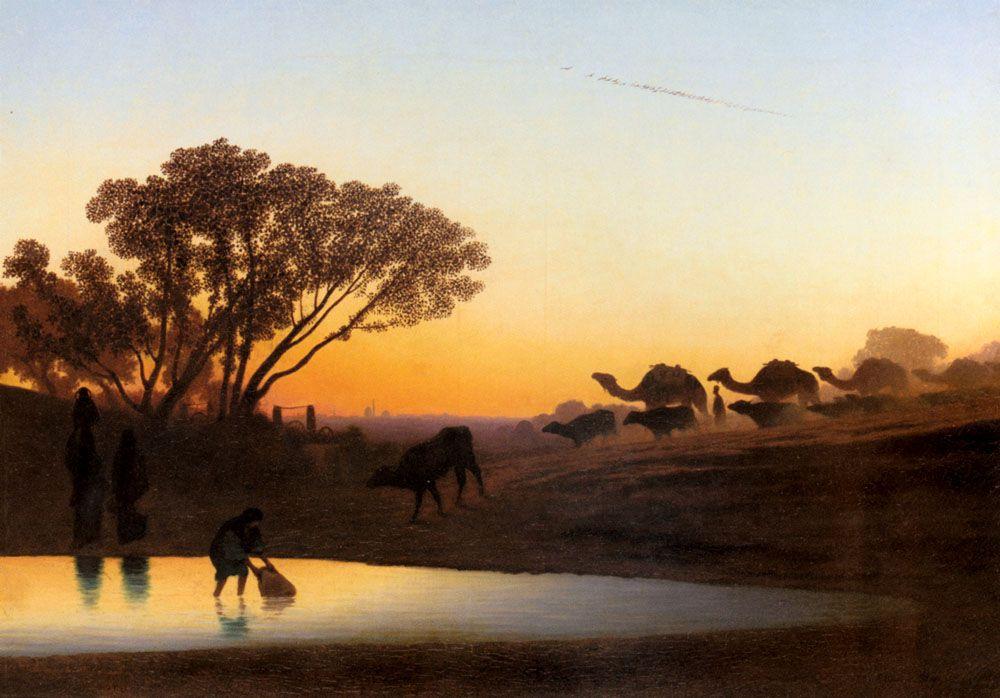 Восход над Нилом :: Чарльз Теодор Фрей  [ Sunset On The Nile ] - Арабский восток фото