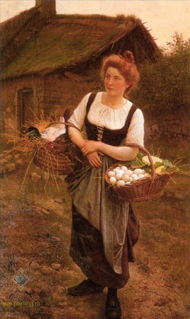 Сельская девушка :: Густав Рудольф Буланже  [The Farm Girl,  Gustave Clarence Rodolphe Boulanger ] - Портреты фото