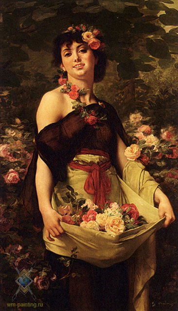 портрет Цветочница :: Густав Рудольф Буланже [  The Flower Girl Gustave Clarence Rodolphe Boulanger ] - Портреты фото