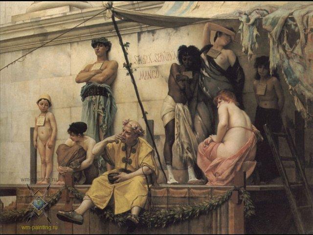 картина Рынок рабов :: Густав Рудольф Буланже - Древний Рим и Греция, Египет фото