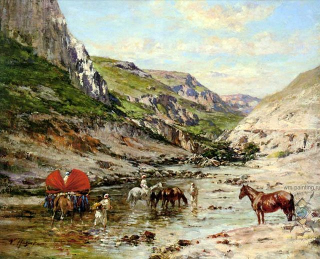 Отдых возле реки :: Юге Виктор Пьер ( Франция ) - Пейзаж ( пейзажная живопись ) фото