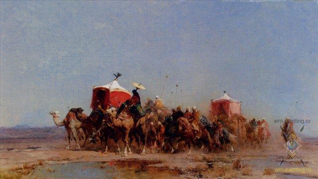 Караван в пустыне :: Альберто Пасини ( картина итальянского художника ) - Арабский восток фото