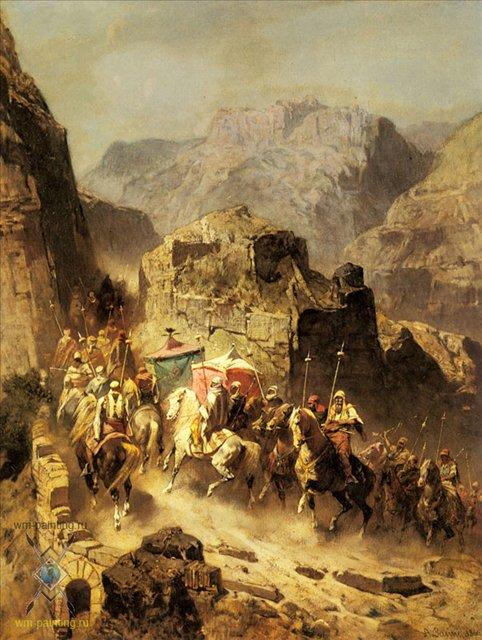картина маслом Караван на перевале :: Альберто Пасини ( Италия ), плюс статья Модные этнические интерьеры - Арабский восток фото