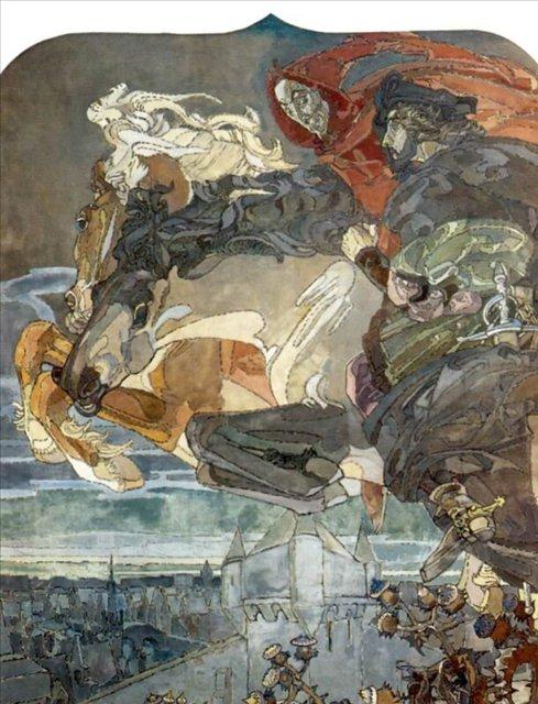 картина Полет Фауста и Мефистофеля :: Врубель М.А. - Врубель Михаил Александрович ( Vrubel Michail ) фото
