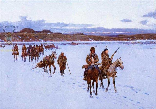 Отбытие на охоту на бизонов :: Генри Фарни ( США, Henry Farny ) - Жанровые сцены фото