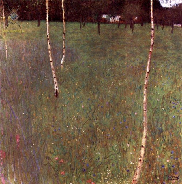 Крестьянский дом с березами :: Густав Климт (Австрия ) - Gustav Klimt (Климт Густав ) фото