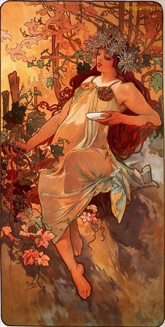 картина Осень :: Альфонс Муха ( Чехия ) [ summer, Alphonse Maria Mucha, the czech] - Муха Альфонс фото