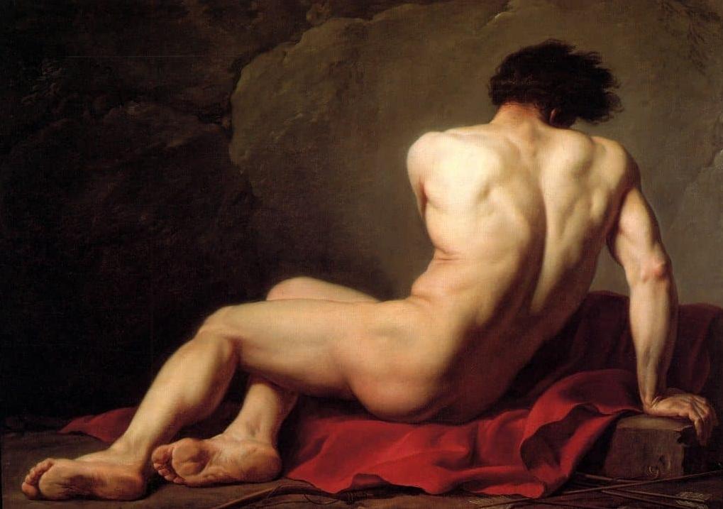 Обнажённый Патрокл ( модель ) :: Жак Луи Давид ( Франция ), картина ню, эротика в живописи  - Картины ню, эротика в шедеврах живописи фото