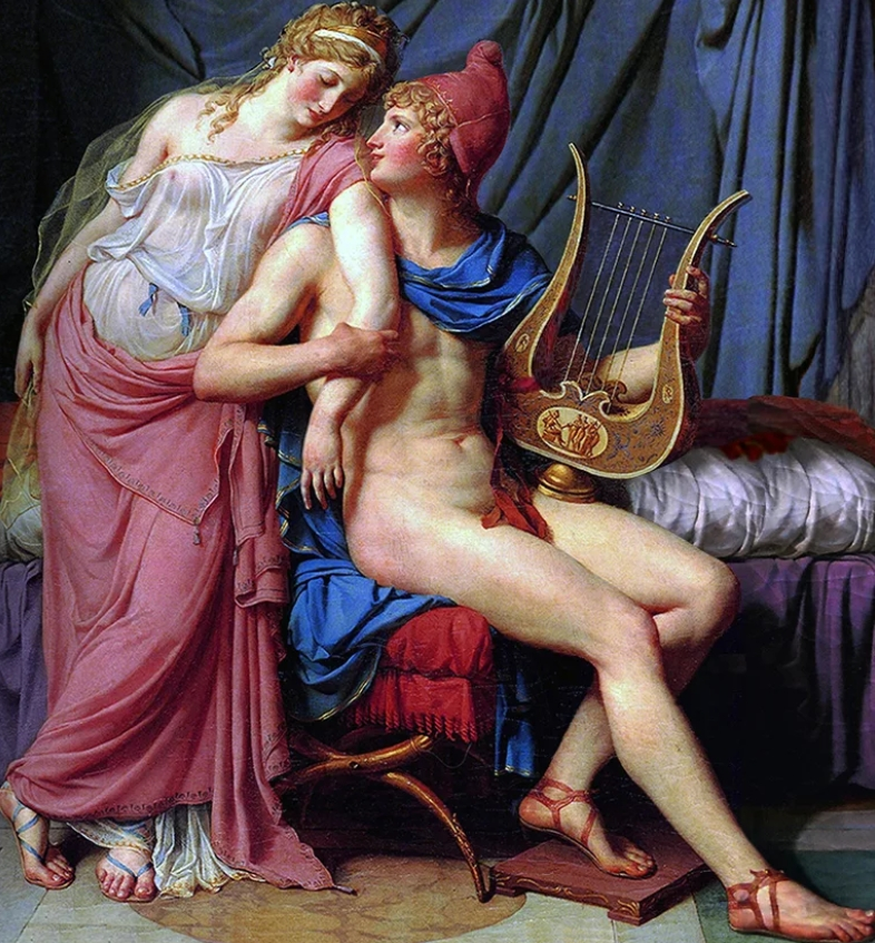 картина Ухаживание Париса за Еленой :: Жак Луи Давид ( Франция ) - Картины ню, эротика в шедеврах живописи фото