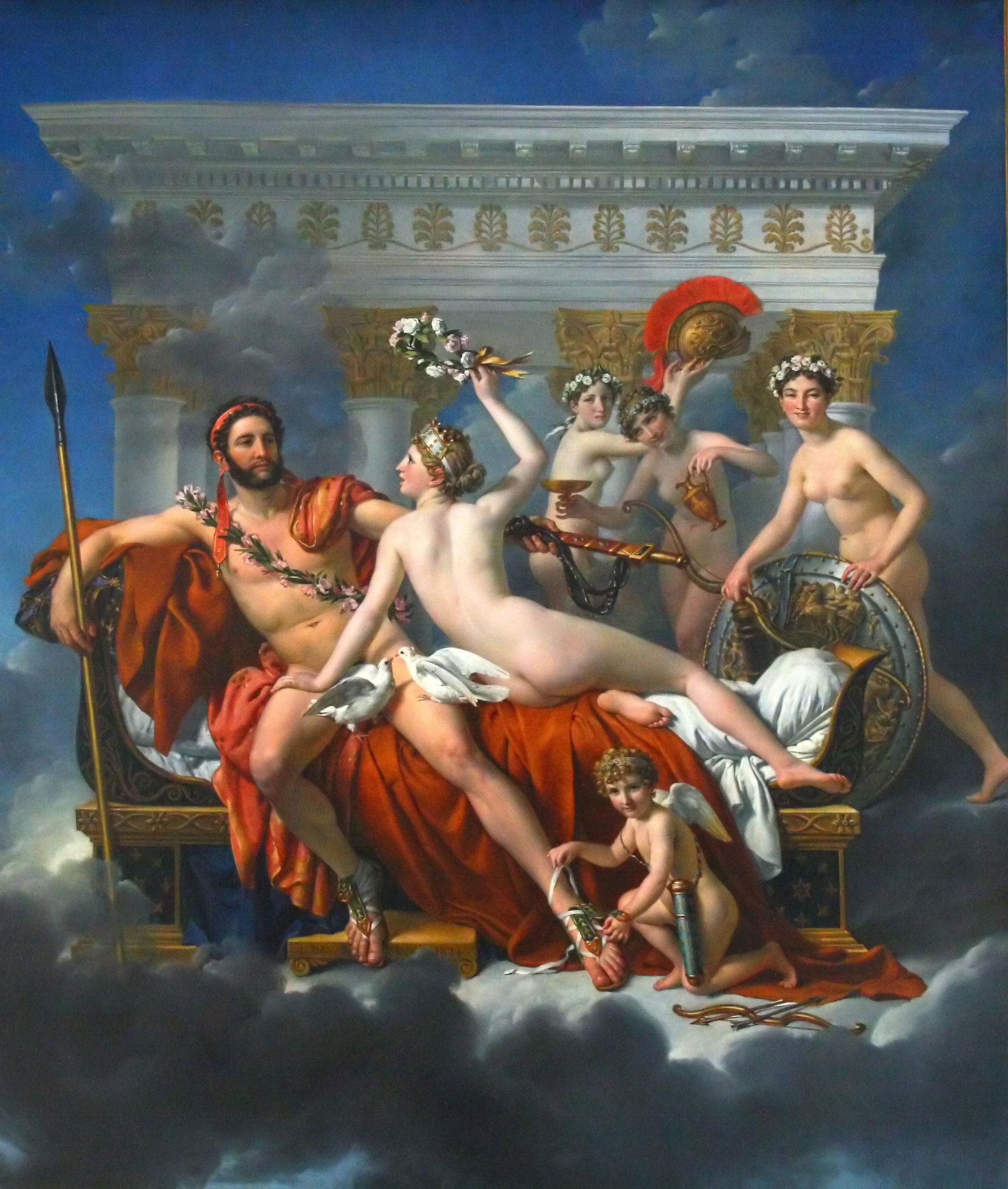 Марс разоружённый Венерой и тремя грациями ::  Жак Луи Давид - Картины ню, эротика в шедеврах живописи фото