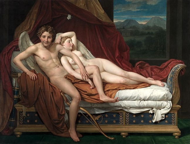 Картина Купидон и Психея ::  Жак Луи Давид (Франция), описание картины  - Картины ню, эротика в шедеврах живописи фото