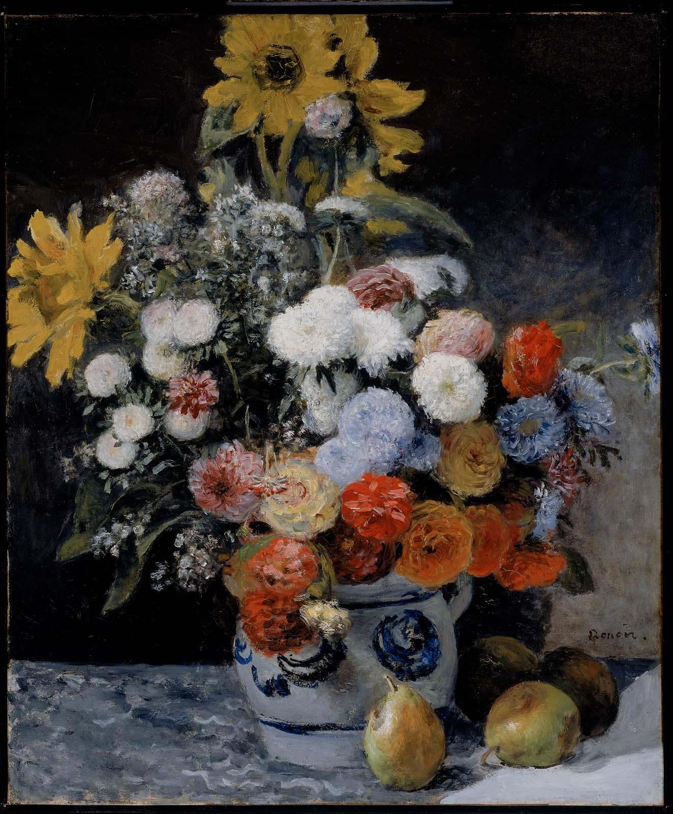 Смесь цветов в глиняном горшке :: Ренуар Пьер Огюст ( Франция ) - Ренуар Огюст ( new ) фото