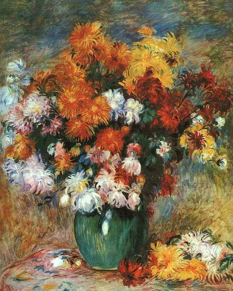 Букет хризантем :: Ренуар Пьер Огюст ( Франция ) - Натюрморт, цветы ( new ) фото