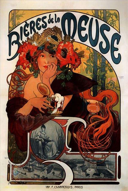 """картина Реклама """"Пива с Мааса"""":: Альфонс Муха ( Чехия, Чехословакия ) - Муха Альфонс фото"""