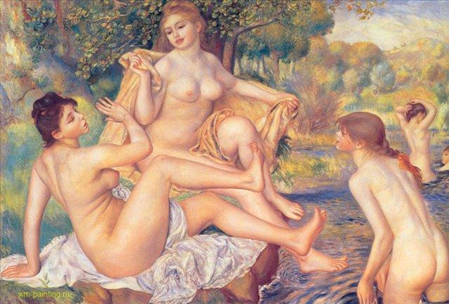 Большие купальщицы :: Ренуар Пьер Огюст ( Франция ), описание картины - Pierre-Auguste Renoir фото