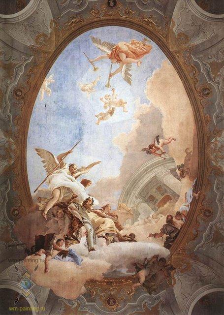 Аллегория: Благородство и Добродетель, сопровождают Достоинство на пути в храм Вечной славы - Фрески, монументальная живопись, роспись стен фото