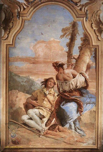 Анджелика выцарапывает имя Медора на дереве :: Джованни Баттиста Тьеполо - Фрески, монументальная живопись, роспись стен фото