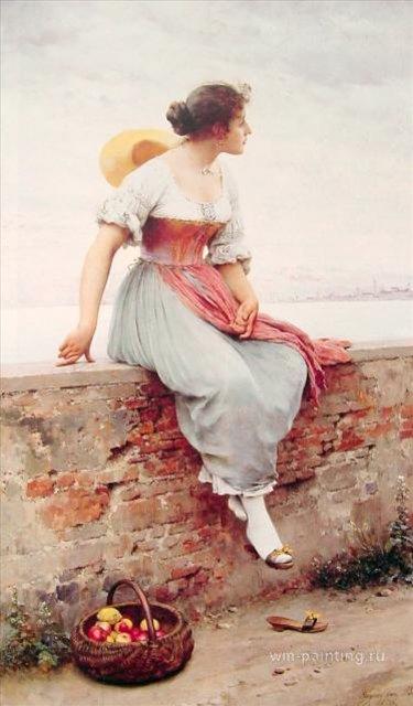 картина Волнующий момент :: Э. де Блаас (Италия) - Романтические сюжеты в живописи фото