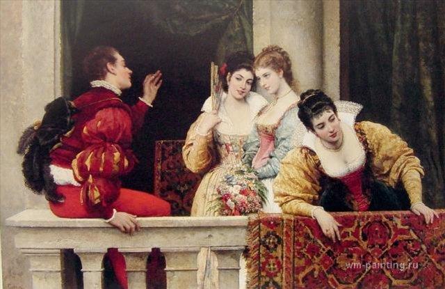 картина <На балконе> :: Э. де Блаас (Италия) - Романтические сюжеты в живописи фото