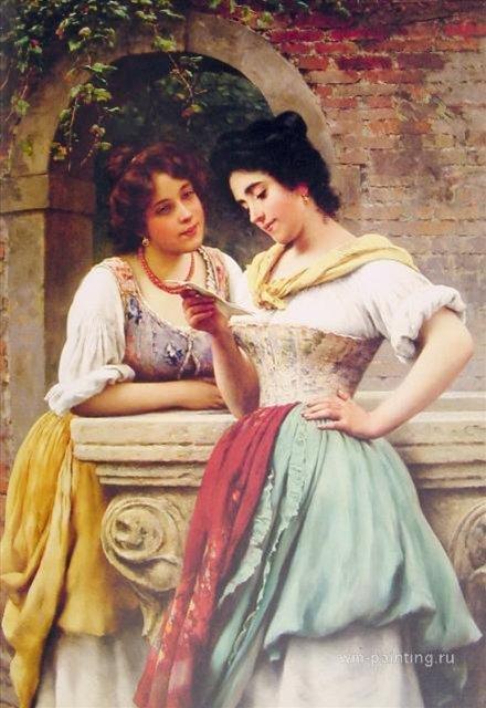картина <Письмо вслух> :: Э. де Блаас (Италия) - Романтические сюжеты в живописи фото