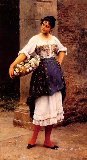 картина Продавщица цветов ::  Э. де Блаас (Италия) - Романтические сюжеты в живописи фото