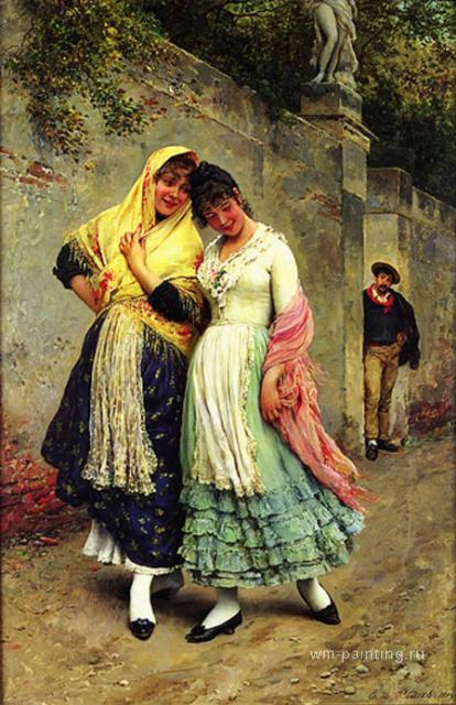 картина Заигрывающие ::  Евгений Блаас ( Австрия ) - Романтические сюжеты в живописи фото
