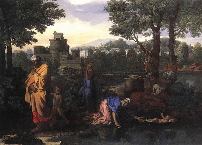 картина Оставление моисея в Ниле :: Пуссен Николя - Библейские сюжеты в живописи фото