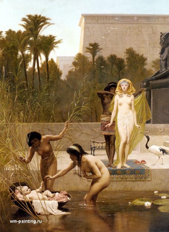 картина спасение Моисея из Нила :: Фредерик Гудол - Библейские сюжеты в живописи фото