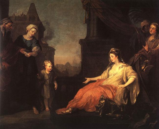 картина Моисей перед дочерьми фараона :: Уильям Хогарт - Библейские сюжеты в живописи фото