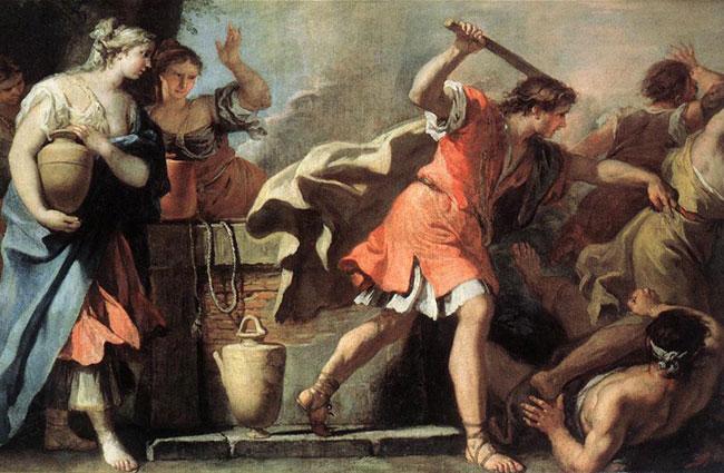 картина Моисей, защищающий дочерей Иофора :: Себастьяно Риччи - Библейские сюжеты в живописи фото