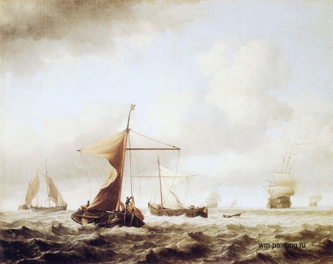"""картина маринистика """"Лёгкий бриз"""" :: Виллем ван де Вельде - Море в живописи ( морские пейзажи, seascapes ) фото"""