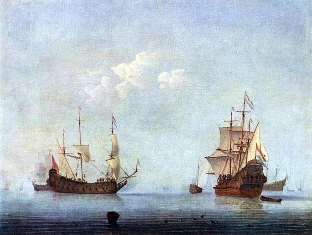 картина <Морской пейзаж> :: Виллем ван де Вельде - Море в живописи ( морские пейзажи, seascapes ) фото