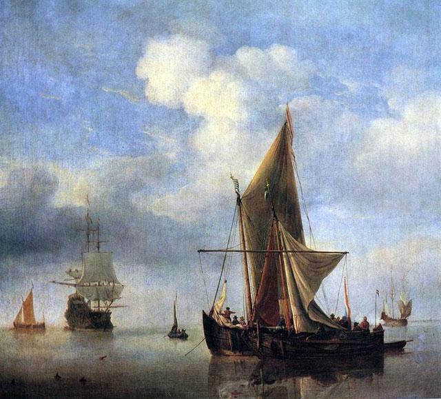 картина маринистика <Спокойное море> ::  Виллем ван де Вельде - Море в живописи ( морские пейзажи, seascapes ) фото