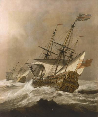 картина маринистика <корабль в шторм> ::   Виллем ван де Вельде ( младший ) - Море в живописи ( морские пейзажи, seascapes ) фото
