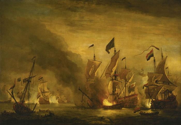 картина маринистика <Сражение при Солибей> ::   Виллем ван де Вельде ( младший ) - Море в живописи ( морские пейзажи, seascapes ) фото