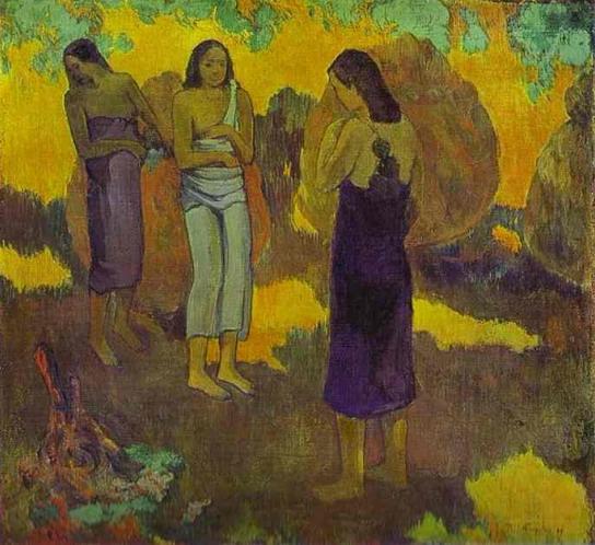 Три женщины на жёлто-золотом фоне :: Поль Гоген - Paul Gauguin фото