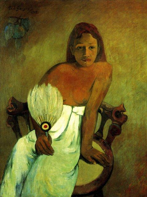 Юная девушка с веером :: Поль Гоген, картина маслом - Гоген Поль ( Paul Gauguin ) фото