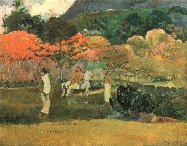 пейзаж Женщины и белая лошадь :: Поль Гоген - Paul Gauguin фото