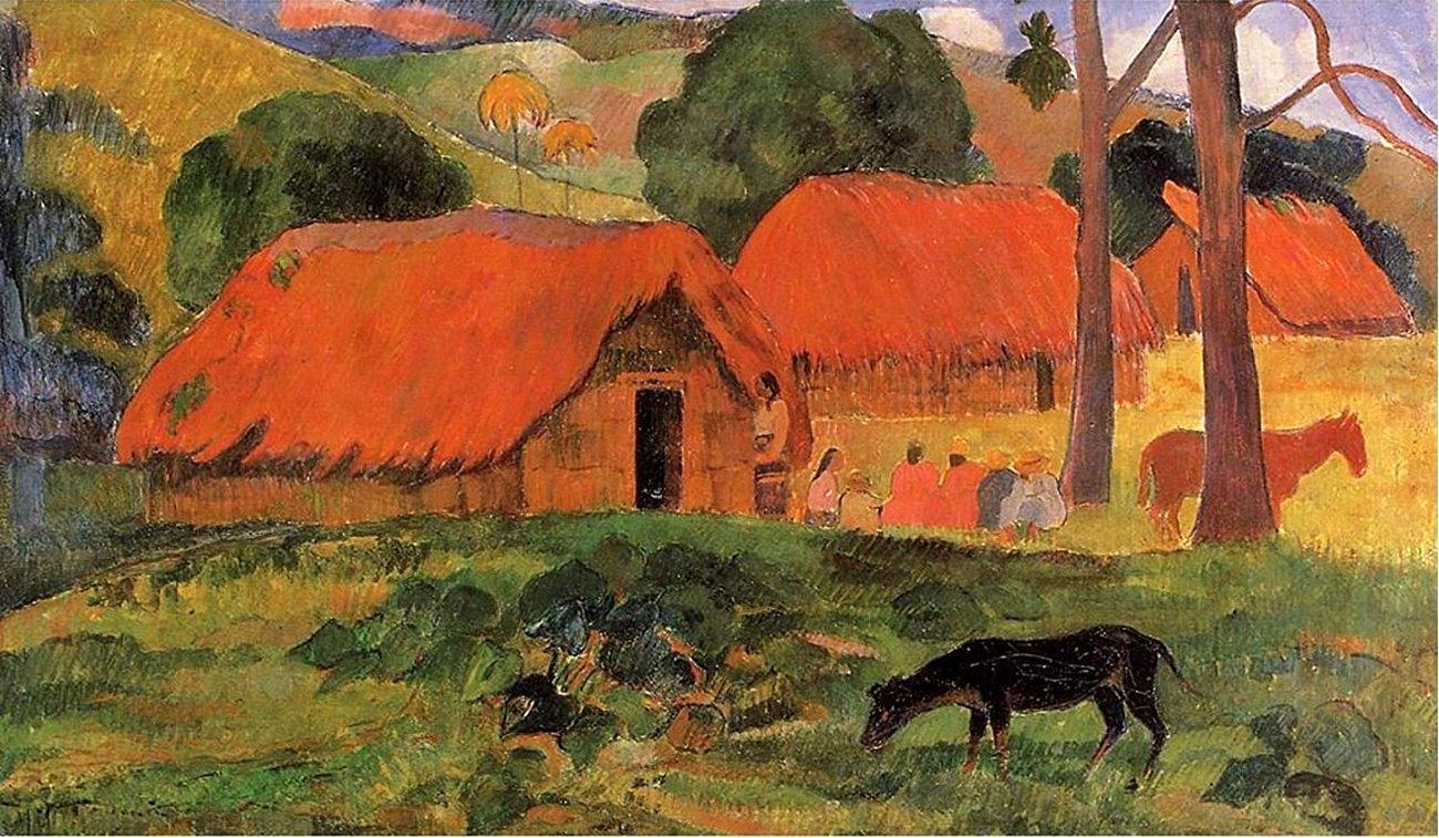 пейзаж <  Три хижины, Таити  > :: Поль Гоген - Гоген Поль ( Paul Gauguin ) фото