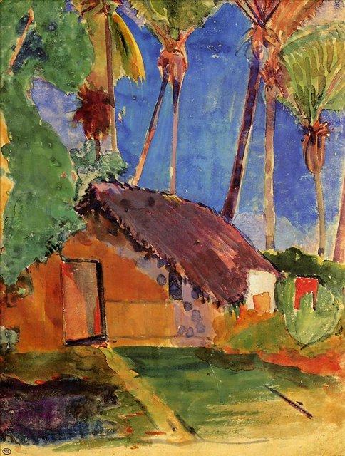 Хижина под пальмовыми деревьями  :: Поль Гоген - Гоген Поль ( Paul Gauguin ) фото